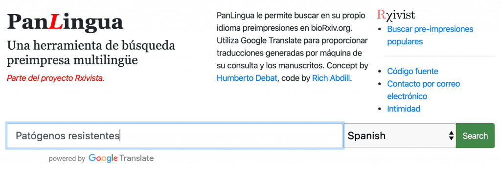 PanLingua homepage with 'Patogenos resistentes' typed into search bar for Spanish language search