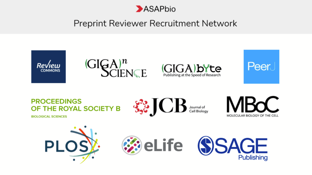 ASAPbio Preprint Reviewer Recruitment Network banner featuring logos of Review Commons, GigaScience, GigaByte, PeerJ, ProcB, JCB, MBoC, PLOS, eLife, and Sage