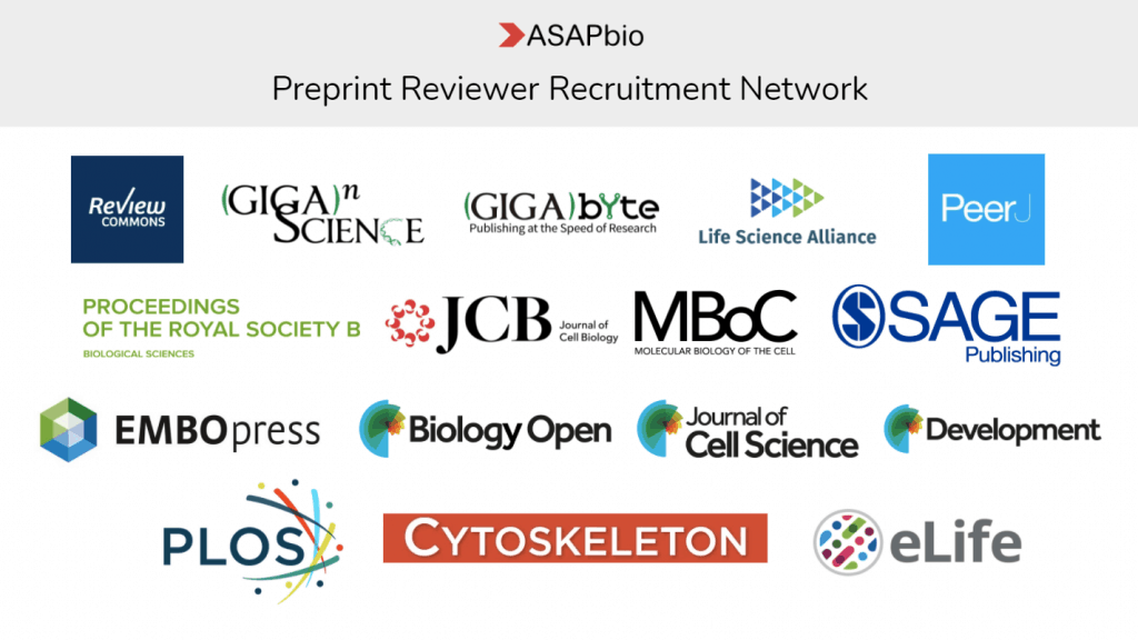 Logos of participants in the ASAPbio preprint reviewer recruitment network